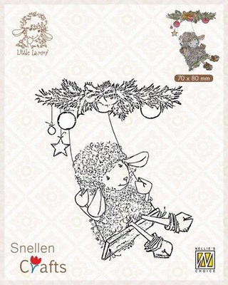 Nellie's Choice Clear stamps Little Lammy Christmas swing SCLOLA005 70x80mm