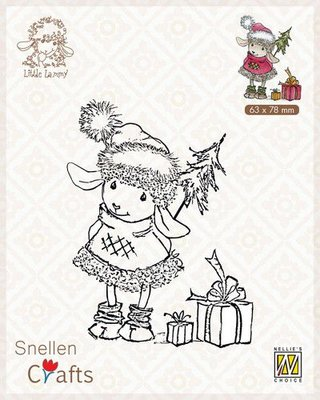 Nellie's Choice Clear stamps Little Lammy Happy with presents SCLOLA001 63x80mm