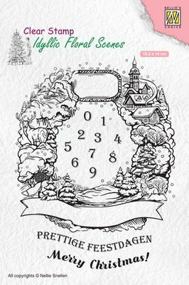 Nellies Choice clearstamp - Idyllic Floral Scenes Christmas krans IFS020 102x140mm
