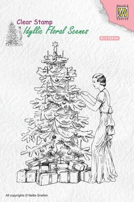 Nellies Choice clearstamp - Idyllic Floral Scenes vintage kerst IFS019 91x129mm