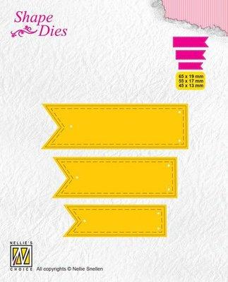 Nellies Choice Shape Die - ticket & tags - 3 tags 2 SD175 65x19/55x17/43x13mm
