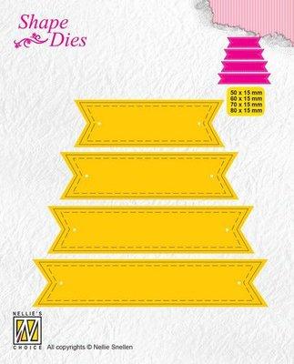Nellies Choice Shape Die - ticket & tags - 4 tags 1 SD174 50x15/60x15/70x15/80x15mm