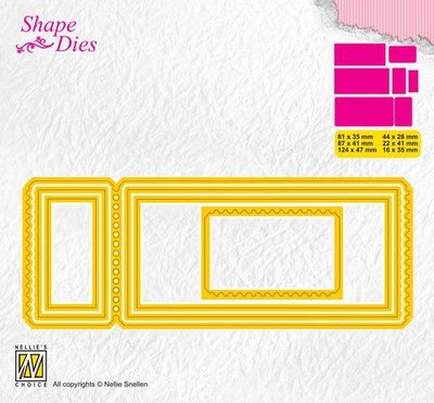 Nellies Choice Shape Die - ticket & tags - ticket 3 SD172 124x47 - 16x35mm