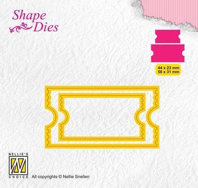 Nellies Choice Shape Die - ticket & tags - ticket 2 SD171 44x23/58x31mm
