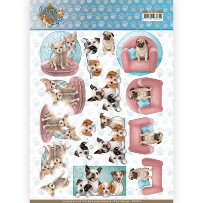 CD11366 3D Knipvel - Amy Design - Dogs Life - All kind of Dogs