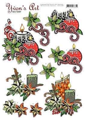 CD11383 3D knipvel - Yvons Art - Christmas Candles