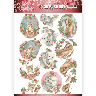 SB10387 3D Pushout - Jeanine's Art - Lovely Christmas - Lovely Christmas Pets