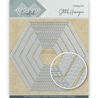 CDECD0030 Card Deco Essentials Cutting Dies Stitch Hexagon -13x11,3cm