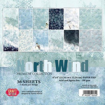 Craft&You North Wind Small Paper Pad 6x6 36 vel CPB-NW15