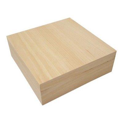 Houten kist vierkant groot 25,2 cm x 25,2 cm x 7 cm