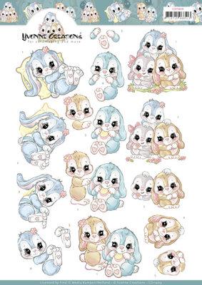 CD11409 3D Knipvel Yvonne Creations - Sweet Bunnies