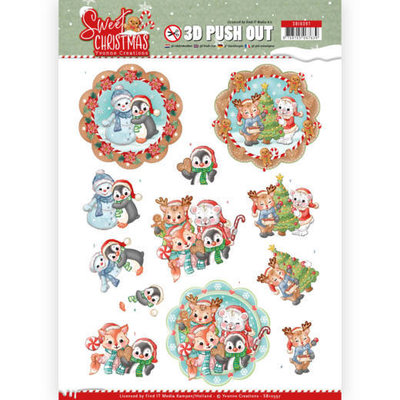 SB10397 3D Pushout - Yvonne Creations - Sweet Christmas - Sweet Winter Animals