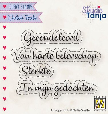 Nellies Choice Clearstempel Tekst (NL) - Gecondoleerd etc.. DTCS029 21x7,5 - 62x9,6mm