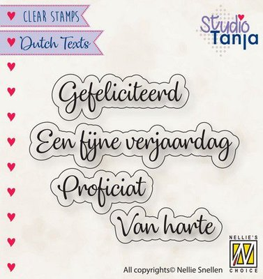 Nellies Choice Clearstempel Tekst (NL) - Proficiat etc.. DTCS027 27x9,7 -60x9mm