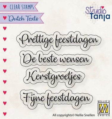 Nellies Choice Clearstempel Tekst (NL) - Prettige Feestdagen etc.. DTCS025 40x10 - 56x9,9mm