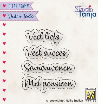 Nellies Choice Clearstempel Tekst (NL) - Veel liefs etc.. DTCS024 27x9,8 - 39x9,1mm