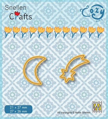 Nellie's Choice Cozy dies Maan en vallende ster SCCOD017 28x26/22x27mm