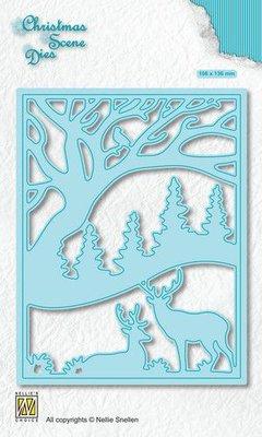 Nellies Choice Christmas Scene Die Rendier in het bos CRSD009