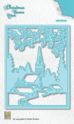 Nellies Choice Christmas Scene Die Snowy village CRSD005
