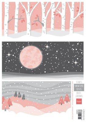 Marianne D Knipvel Eline's Snowflake kisses achtergronden AK0075 A4