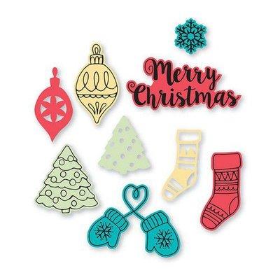 Sizzix Framelits Die Set 9PK w/Stamps - Christmas Classics 663670 Lynda Kanase