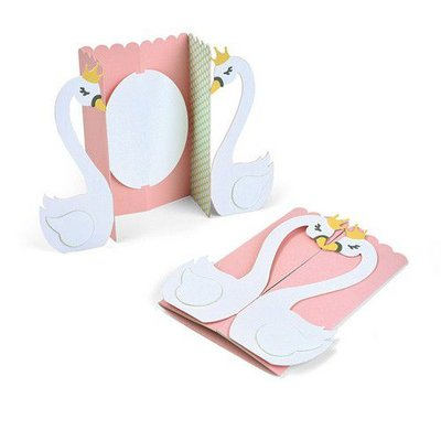 Sizzix Thinlits Die  set -  6PK Card Swan Fold-a-Long 663617 Jen Long