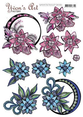 CD11413 Yvon's Art - Blue and Pink Swirls