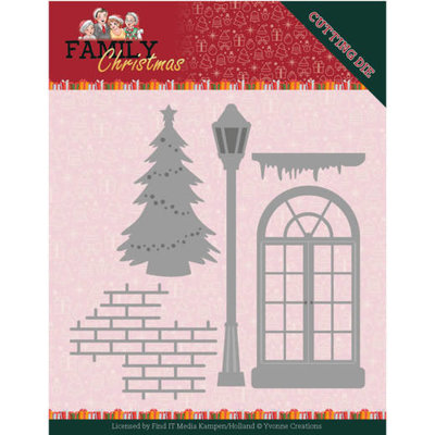 YCD10185 Dies - Yvonne Creations - Family Christmas - Christmas Window 10,8x10cm