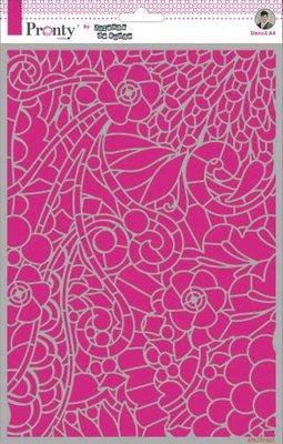 Pronty Mask Background Floral Swirl by Jolanda A4 470.770.023 by Jolanda