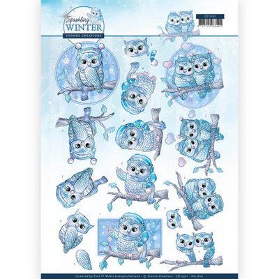 CD11401 - HJ17601 3D Knipvel - Yvonne Creations - Sparkling Winter - Winter Owls