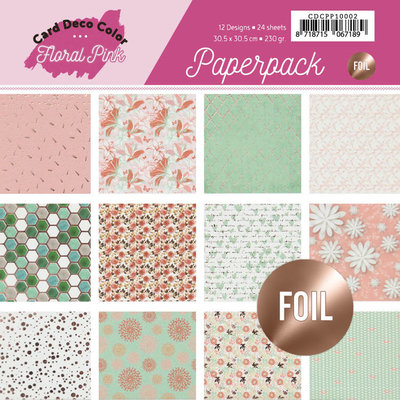 CDCPP10002 Foiled Paperpack 30,5 x 30,5 - Yvonne Creations - Floral Pink