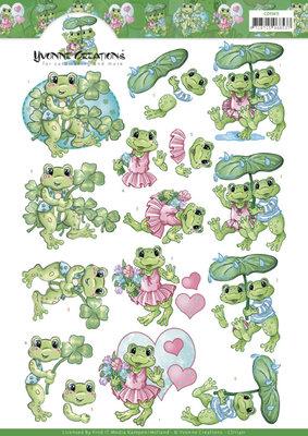 CD11411 3D Knipvel -Yvonne Creations - Frog Greetings