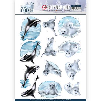 SB10409 3D Pushout - Amy Design - Winter Friends - Sparkling Sealife