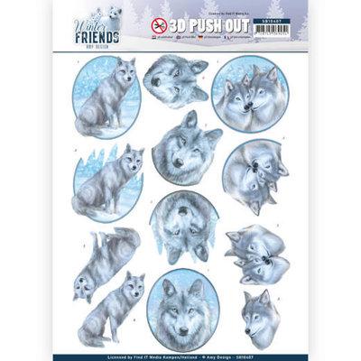 SB10407 3D Pushout - Amy Design - Winter Friends - Winter Wolves