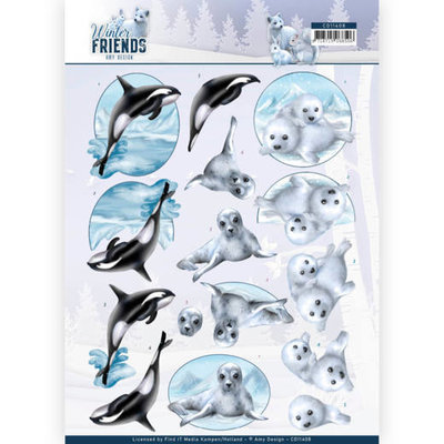 CD11408 3D Knipvel - Amy Design - Winter Friends - Sparkling Sealife