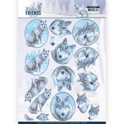 CD11406 3D Knipvel - Amy Design - Winter Friends - Winter Wolves