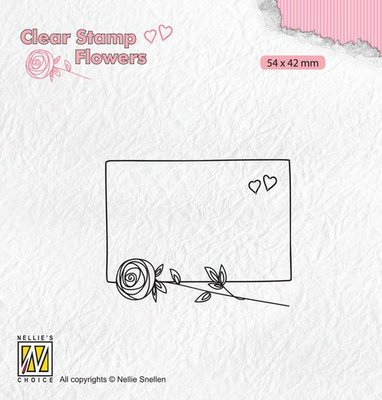 Nellie's Choice Clear stamps Flowers frame met roos FLO024 54x42mm
