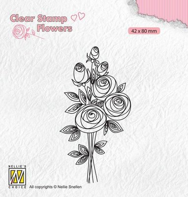 Nellie's Choice Clear stamps Flowers Boeket rozen-2 FLO021 42x80mm