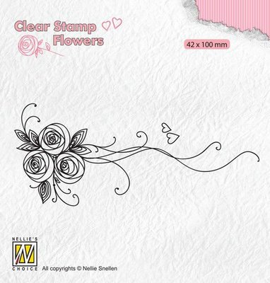 Nellie's Choice Clear stamps Flowers Boeket rozen-1 FLO020 42x100mm
