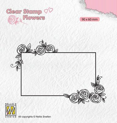 Nellie's Choice Clear stamps Flowers rechthoekig frame met rozen FLO019 90x60mm