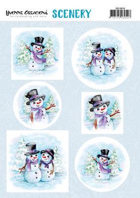 CDS10016 Scenery - Yvonne Creations  Happy Snowmen