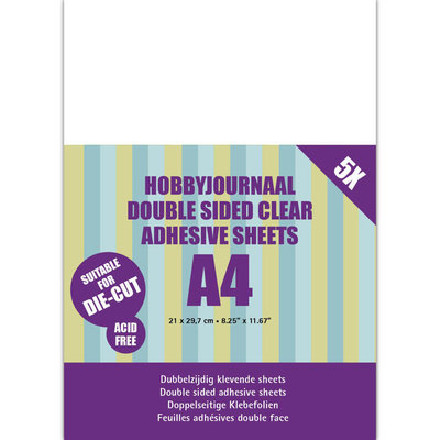 HJDCS002 Hobbyjournaal Double sided clear adhesive 5 sheets A4