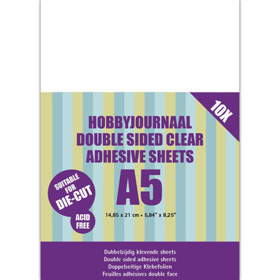 HJDCS001 Hobbyjournaal Double sided clear adhesive 10 sheets A5