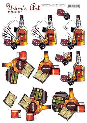 CD11442 3D Knipvel - Yvon's Art - Cognac and Whiskey