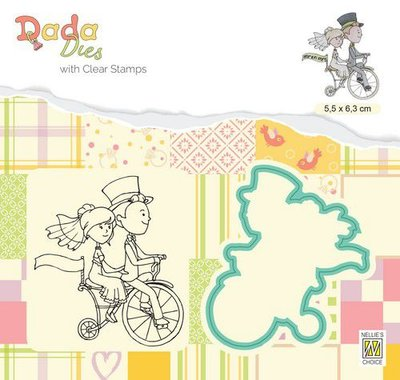 Nellie's Choice DADA Die & Clear stamp marriage - Bruidspaar op fiets DDCS027 55x63mm (01-20)