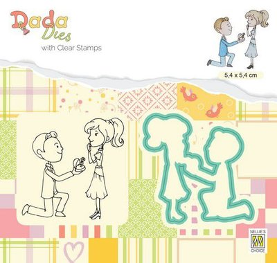 Nellie's Choice DADA Die & Clear stamp marriage - Huwelijksaanzoek DDCS025 54x54mm (01-20)