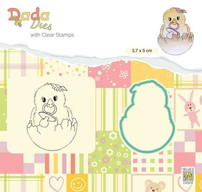 Nellie's Choice DADA Die & Clear stamp kuiken - Hello World DDCS021 38x50mm (01-20)