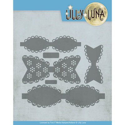 LL10007 Snijmal - Lilly Luna - Romantische strikken ca. 10,9 x 12 cm.