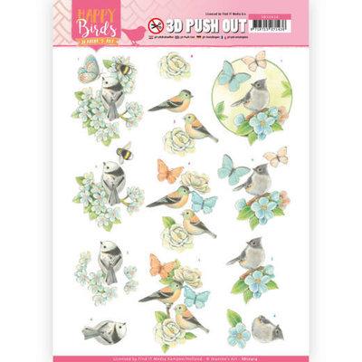 SB10414 3D uitdrukvel - Jeanine's Art - Happy Birds - Blauwe dans
