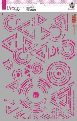 Pronty Mask Background Triangles & Circles Grunge A4 470.770.030 by Jolanda